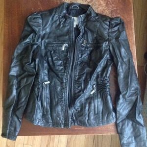 Faux Leather Ruched Moto Jacket Zippers Sz Jrs M